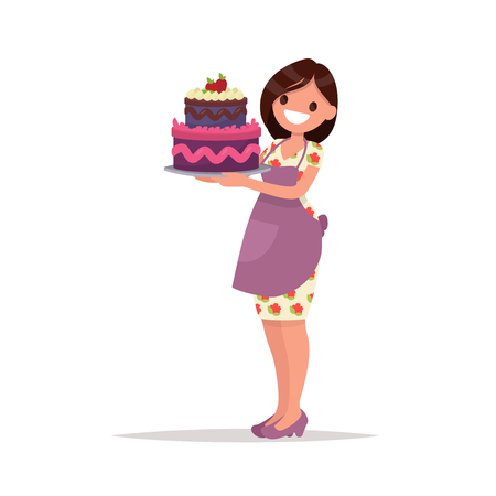 Homemade birthday cake. Housewife   holds a beautiful cake. Vector illustration in a flat style