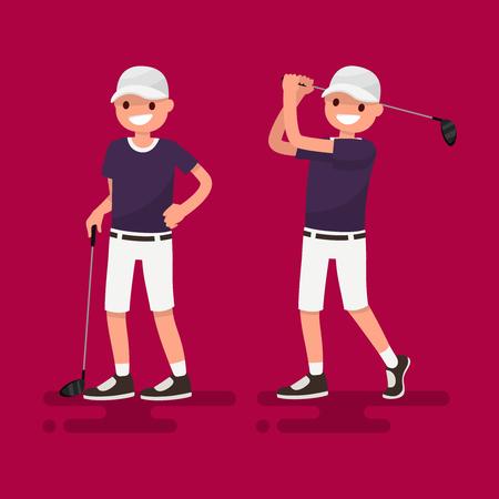 Golf. Golfer posing with a stick, golfer shot. Vector illustration Illustration