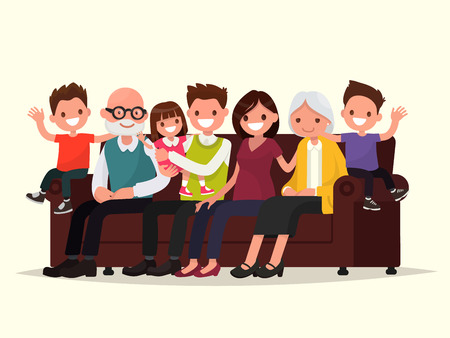 Big family sitting on the sofa. Grandfather, grandmother, father, mother and children. Vector illustration of a flat design Illusztráció