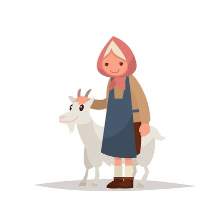 Grandmother with a goat. Vector illustration of a flat design Illustration