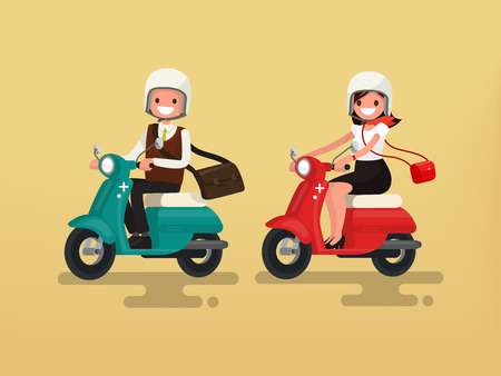 Man and woman riding on their motorbikes. Vector illustration of a flat design