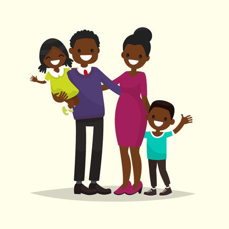 African American family. Father, mother, son and daughter. Vector illustration of a flat design  イラスト・ベクター素材
