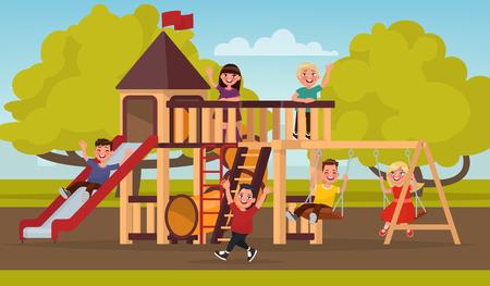 sandbox: Happy childhood. Children play on the playground. Vector illustration