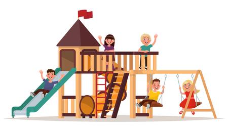 Kinderen spelen op de speelplaats op een witte achtergrond. Vector illustratie Stock Illustratie