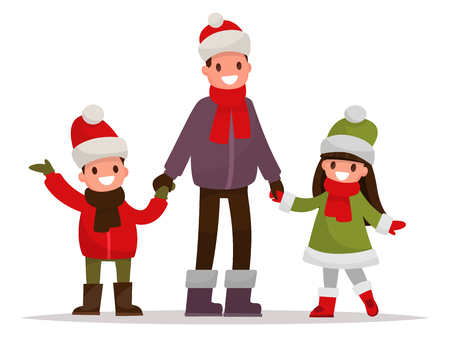 Dad with kids dressed in winter clothes outdoor. Vector illustration of a flat design