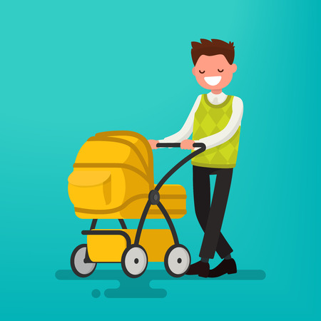 Young dad walking with a newborn that is in the stroller. Vector illustration of a flat design