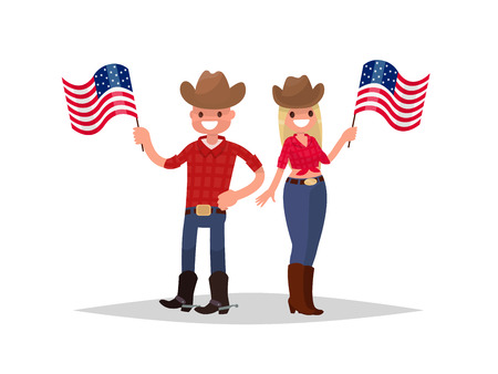 American Independence Day. Man and woman dressed in national costumes are holding American flags. Vector illustration. Illustration