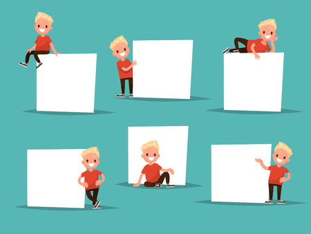 Set boy in various poses next to a poster. The boy says, shows. Ideal for pre-school educational posters.