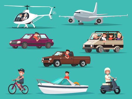 Set of people and vehicles. Aircraft, helicopters, cars, moped, bike, boat. Vector illustration of a flat design