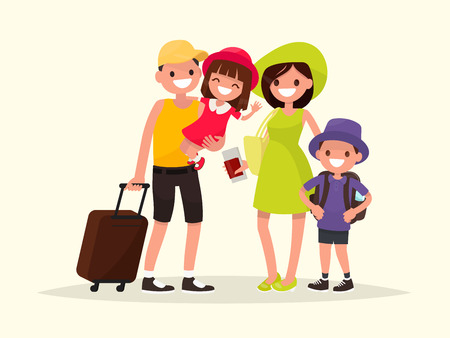 Happy family is going on the summer vacation. Vector illustration of a flat design
