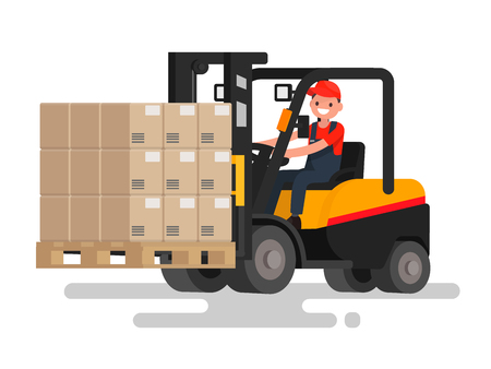 Operator controls the front loader that carries goods. Work on the stock. Vector illustration of a flat design