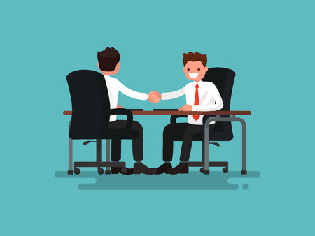 Business partners. Handshake of two businessmen behind a desk. Vector illustration of a flat design