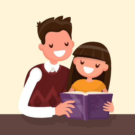 Father reading a book to his daughter. Vector illustration of a flat design