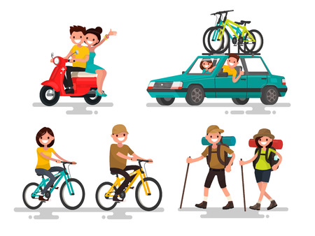 Leisure. Young couple riding a bike, traveling, hiking involved. Vector illustration of a flat design