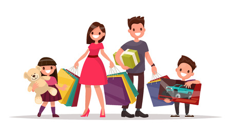 Happy family with shopping. Father mother, son and daughter are holding bags and gifts. Big Sale. Vector illustration of a flat design Vettoriali