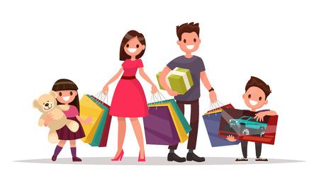 Familia feliz con compras. Padre madre, hijo e hija son la celebración de bolsas y regalos. Gran venta. Ilustración vectorial de un diseño plano