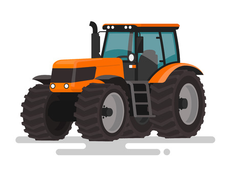 traction engine: Agricultural machinery. The tractor on a white background. Vector illustration