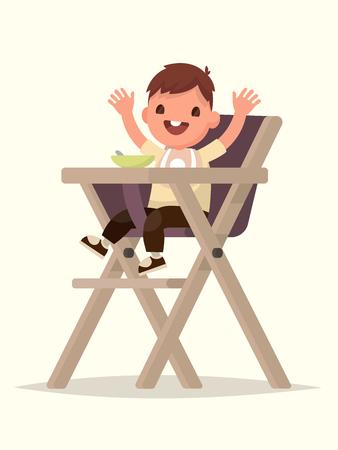 Child Feeding. Happy kid sitting on the highchair. Vector illustration of a flat design Ilustração