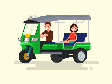 Driver and passenger three-wheeled tuk-tuk taxi. Vector illustration of a flat design