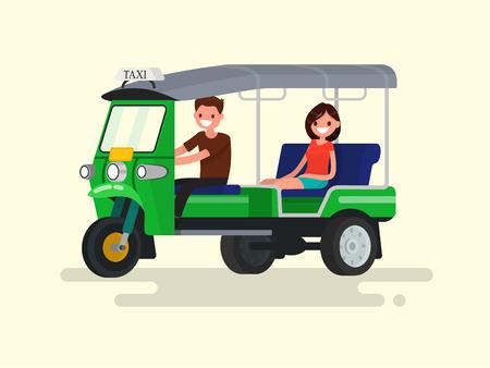 Driver and passenger three-wheeled tuk-tuk taxi. Vector illustration of a flat design