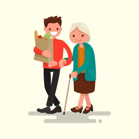 Volunteer helping grandmother carry products. Vector illustration of a flat design