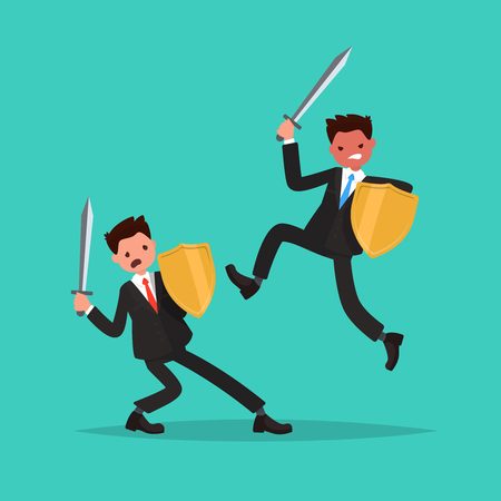 Conflict. Battle of two employees. Vector illustration of a flat design