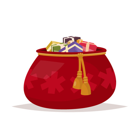 Santa Claus bag of gifts on an isolated background. Vector illustration of a flat design