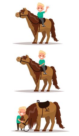 Stel jongen met een paard. Jongen rijdt te paard. Boy knuffelen een paard. Vector illustratie van een plat ontwerp
