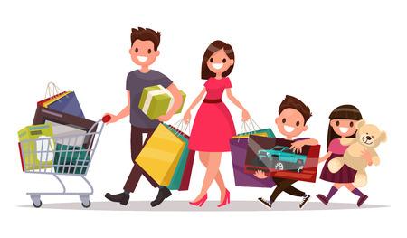 mujer en el supermercado: Familia feliz con las compras. Gran descuento. Compra de productos y regalos. Ilustración vectorial de un diseño plano