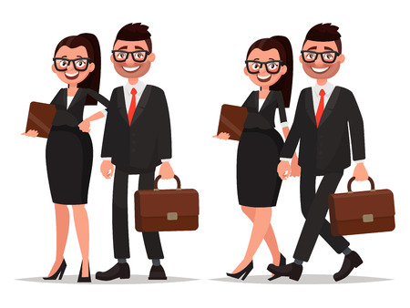 dressed: Business couple. Characters businessman and businesswoman on white background. Man and woman dressed in business suits Illustration