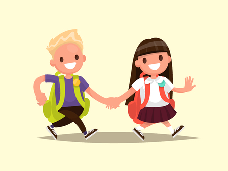 Students Elementary school . Schoolboy and schoolgirl go together hand in hand. Vector illustration of a flat design