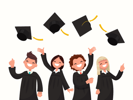 Group of university graduates in black gowns throw up caps. Vector illustration of a flat design