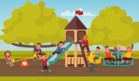 Gelukkige jeugd. Kinderen op de speelplaats slingeren op een schommel en rijden op de carrousel. Vector illustratie