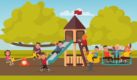 Happy childhood. Children on the playground swinging on a swing and ride on the carousel. Vector illustration