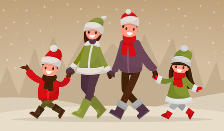 Walking happy family outdoors in winter. Vector illustration of a flat design