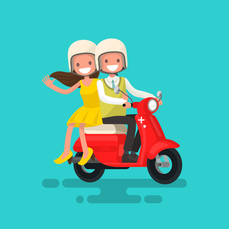 Guy with a girl riding on a motorcycle. Vector illustration Illustration