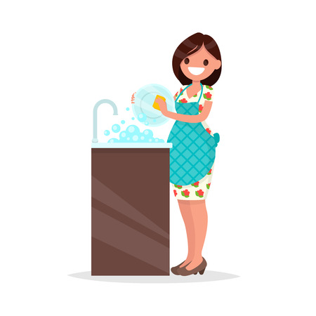 Housewife. The woman wearing in an apron is washing dishes. Vector illustration of a flat design