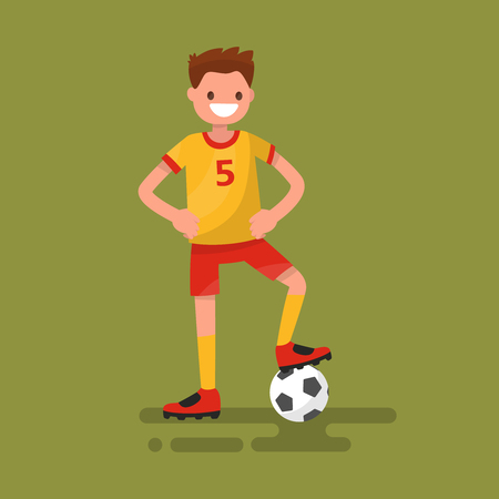 Smiling football player standing with a ball. Vector illustration Illustration