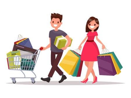 Couple de famille heureux avec les achats. Homme avec un panier d'épicerie et une femme avec les paquets. Illustration vectorielle d'un design plat Banque d'images - 69882827