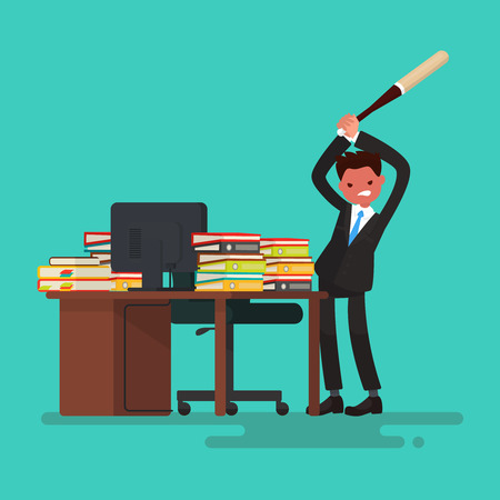 overload: Deadline. Angry worker breaks the desk littered with documents. Vector illustration of a flat design