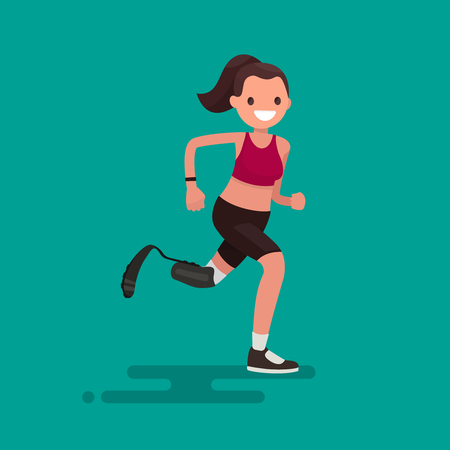 Paralympic Athlete woman running on the prosthesis. Vector illustration of a flat design Illustration