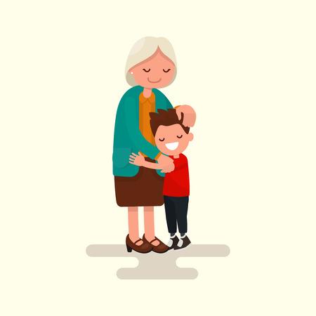 孫が祖母を抱き締めます。フラット デザインのベクトル イラスト