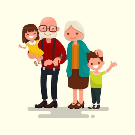 自分の孫を持つ祖父母。フラット デザインのベクトル イラスト
