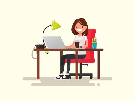 Freelance. The girl the designer or photographer behind a desktop. Vector illustration of a flat design