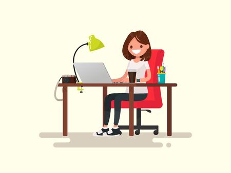 Freelance. The girl the designer or photographer behind a desktop. Vector illustration of a flat design