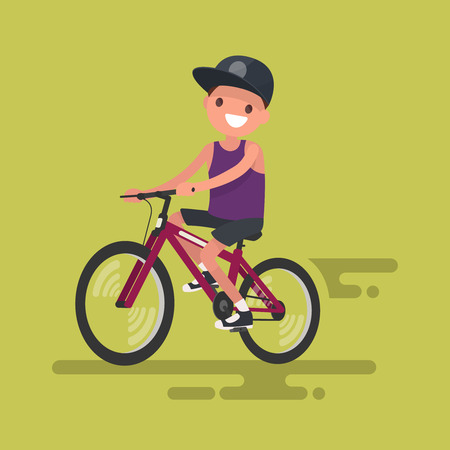 Boy rides a bicycle. Vector illustration in a flat style