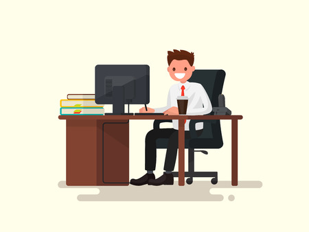 Office worker man behind a desk. Vector illustration of a flat design  イラスト・ベクター素材