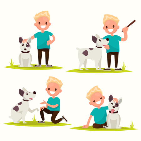 Set of characters. Boy with his beloved dog. Vector illustration of a flat design Illusztráció