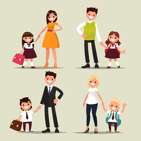 grader: Set of characters. Parents and children are students together. Back to school. Vector illustration of a flat design Illustration