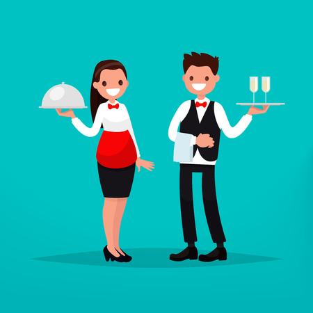 Waiter and waitress restaurant. Vector illustration of a flat design Ilustrace
